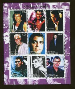 Tajikistan Commemorative Souvenir Stamp Sheet - Actor George Clooney