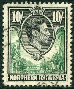 NORTHERN RHODESIA-1938-52 10/- Green & Black.  A fine used example Sg 44