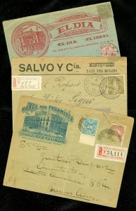 EDW1949SELL : URUGUAY 3 Better Early covers including Bisect on Registered cover