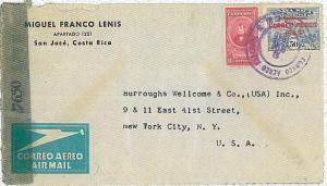 TRAINS : Costa Rica -  POSTAL HISTORY:  COVER  to  USA - Censor tape 1945