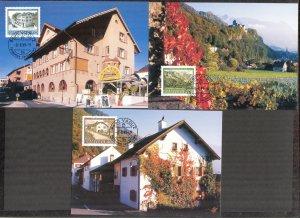 Liechtenstein 1999 Art Paintings Landscapes Architecture 3 Maxi Cards FDC