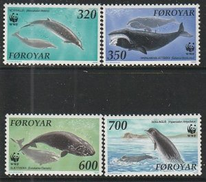 1990 Faroe Islands - Sc 208-14 - MNH VF - 4 single - Whales