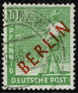 GERMANY BERLIN 1949 10pf YELLOW-GREEN USED (VFU) SG B24 Wmk.230 P.14 SUPERB