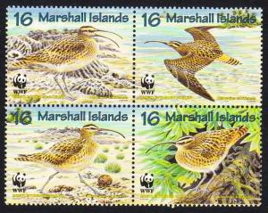 Marshall Is. Birds WWF Bristle-thighed Curlew 4v in block 2*2 SG#826-829