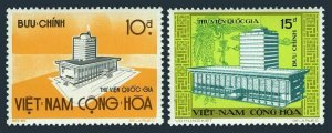 Viet Nam South 480-481, MNH. Mi 558-559. New National Library Building, 1974.