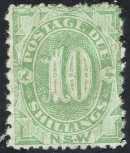 NEW SOUTH WALES 1891 POSTAGE DUE 10/- PERF 12 X 10