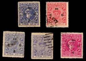 5 COCHIN (INDIAN STATE) Stamps