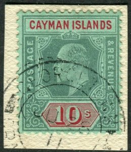 CAYMAN ISLANDS-1907-9 10/- Green & Red/Green.  A fine used example  Sg 34