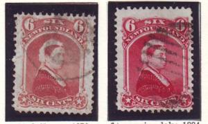 Newfoundland Sc 35-6 6 c Victoria stamps used