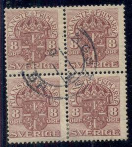 SWEDEN #O47v 8ore violet wmk wavy lines , used Block of 4, Facit $230.00