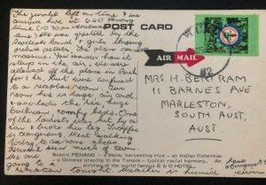 1975 Penang Malaya Color RPPC Postcard Cover To Marleston Australia Greetings