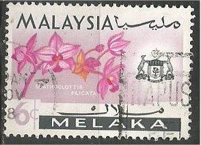 MALACCA, 1965, used 6c, Orchid Scott 70