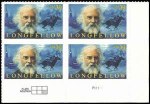 PCBstamps  US #4124 PB $1.56(4X39c)Henry Longfellow, MNH, (PCB-4)