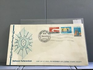 Burma 1973 First Day Cover National Referendum  stamps cover  R29081
