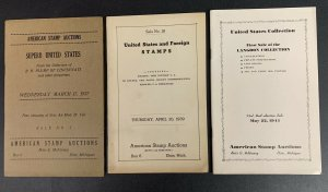 American Stamp Auctions, Lot of 3 Auction Catalogs, 1937-1944, Sales #5,18, & 33