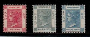 Hong Kong - Scott 36b,38,46 Mint hinged (Catalog Value $127.00)