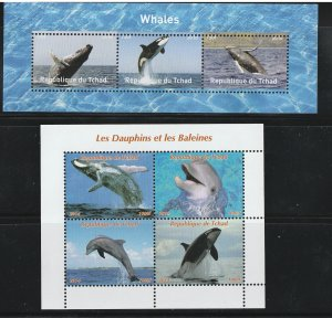 Chad MNH 2-S/S Dolphins & Whales