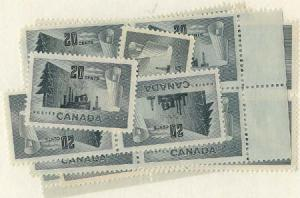 Canada - 1952 20c Forestry Products X 20 mint #316 F+-VF NH Cat. $45.00
