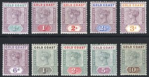 Gold Coast 1898 1/2d-10s QV KeyPlate SG 26-34 Scott 26-35 LMM/MLH Cat £350($448)