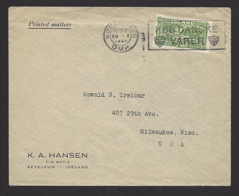 Iceland Denmark 1925 Fishing Boat Mail