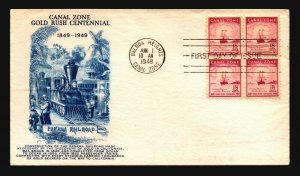 Canal Zone SC# 145 FDC / Block of 4 / Cacheted - L1607