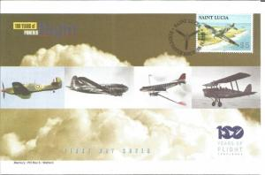 100 Years Of Flight First Day Cover Spitfire Mk.5 2003 St. Lucia Z5503