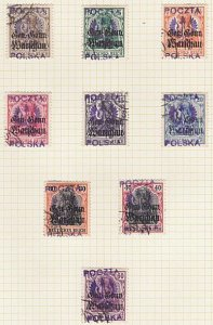 POLAND 1918 KALISZ local overprints used - 9 stamps type 2..................A593