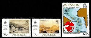 ASCENSION - 1983 - ROYAL GEOGRAPHICAL SOCIETY - MAP - SHIP + MINT - MNH SET!