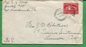Hawaii Cover 1932 Ft Kamehameha Station to Livermore CA Numeral Duplex - S8302