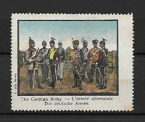 WW-I Propaganda stamp 1914, The German Army, Soldiers in Uniform with Equipment