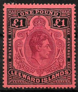 LEEWARD ISLANDS SG114ba 1945 £1 BROWN-PURPLE & BLACK ON SALMON MNH MISSING PEARL