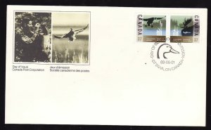 Canada-Sc#1205a-stamp on FDC-Wildlife Conservation-Birds-1988-