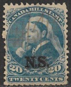 CANADA NOVA SCOTIA 1868 QV 20c BILL STAMP REVENUE VDM. NSB12 USED