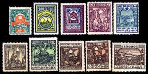 1922 ARMENIA #300-309 NEVER ISSUED STAMPS - OGHR - VF - CV$11.10 (ESP#2672)