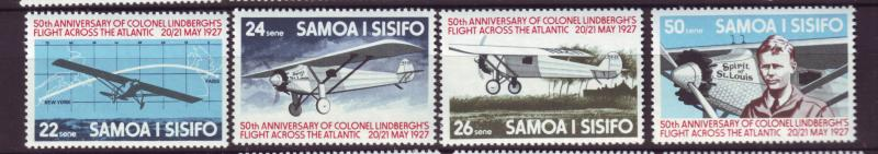 J19648 Jlstamps 1977 samoa set mnh #450-3 spirit of st louis airplane