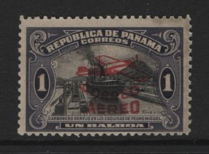 PANAMA  C6 GUM DAMAGED RED OVERPRINT 1930