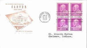 #953, 3c George Washington Carver, Farnam cachet, block of 4