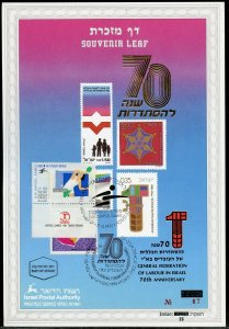 ISRAEL CARMEL #85  SOUVENIR LEAF OV'PTD IN ENG/HEB  14th HAPOEL FD CANCELED REV
