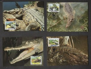 WWF AMERICAN CROCODILE: PANAMA, 4 MAX CARDS, (WORLD WIDE FUND FOR NATURE)