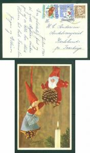 Denmark. Christmas Card Santa 1960  With 2 Seal + Scott # 320. Adr: Karlslunde