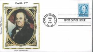 1997 San Francisco California Benjamin Franklin Silk Cachet First Day Cover