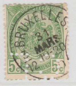 Perfin Belgium 1905-11 5c Used Stamp A19P48F966