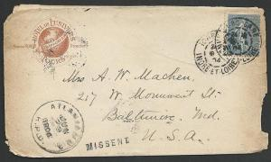 USA 1904 cover France to Baltimore MISSENT TO ATLANTA RPO..................49093