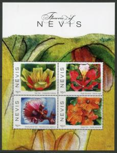 NEVIS 2017 FLOWERS OF NEVIS SHEET OF FOUR MINT NEVER HINGED