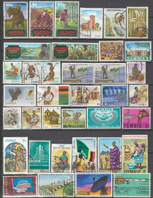 COLLECTION LOT OF #1023 ZAMBIA 37 STAMPS 1972+