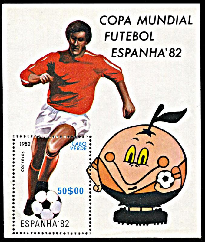 Cape Verde 452, MNH, World Cup Football 1982 souvenir sheet