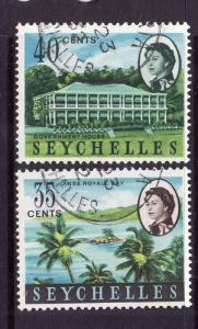Seychelles-Sc#203-4-used 35c & 40c definitives-1962-9-
