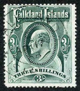 Falkland Is SG49 KEVII 3/- Green Very Fine used