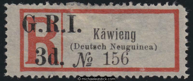 1915 New Guinea Reg Label surcharged GRI 3d for KAWIENG, SG 42 MNG