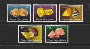 SHELLS - PAPUA NEW GUINEA #549-53   MNH
